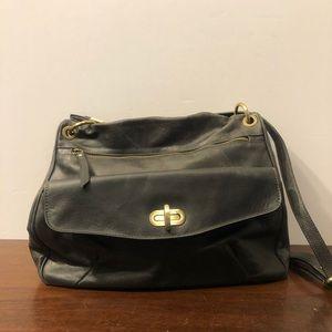 Pulicati Grey Leather Messenger Bag